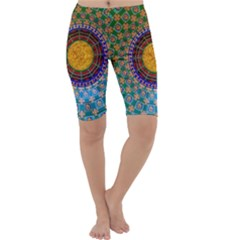 Temple Abstract Ceiling Chinese Cropped Leggings