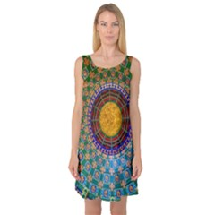 Temple Abstract Ceiling Chinese Sleeveless Satin Nightdress