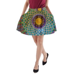 Temple Abstract Ceiling Chinese A Line Pocket Skirt by Nexatart