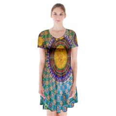 Temple Abstract Ceiling Chinese Short Sleeve V Neck Flare Dress