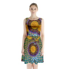 Temple Abstract Ceiling Chinese Sleeveless Chiffon Waist Tie Dress