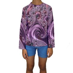 Abstract Art Fractal Art Fractal Kids  Long Sleeve Swimwear