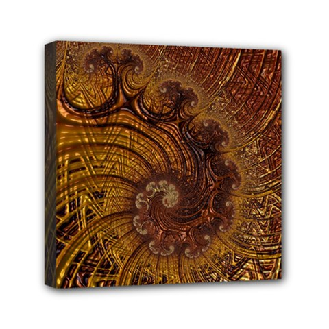 Copper Caramel Swirls Abstract Art Mini Canvas 6  X 6  by Nexatart
