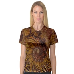 Copper Caramel Swirls Abstract Art Women s V Neck Sport Mesh Tee