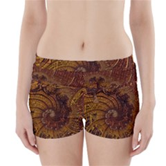 Copper Caramel Swirls Abstract Art Boyleg Bikini Wrap Bottoms