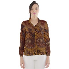 Copper Caramel Swirls Abstract Art Wind Breaker (women)