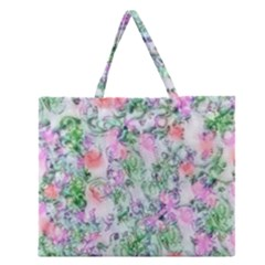 Softly Floral A Zipper Large Tote Bag by MoreColorsinLife