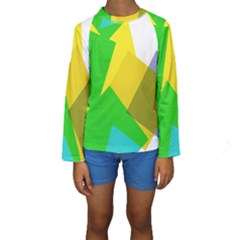 Green Yellow Shapes         Kid s Long Sleeve Swimwear