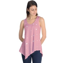 Pink Background With White Hearts On Lines Sleeveless Tunic