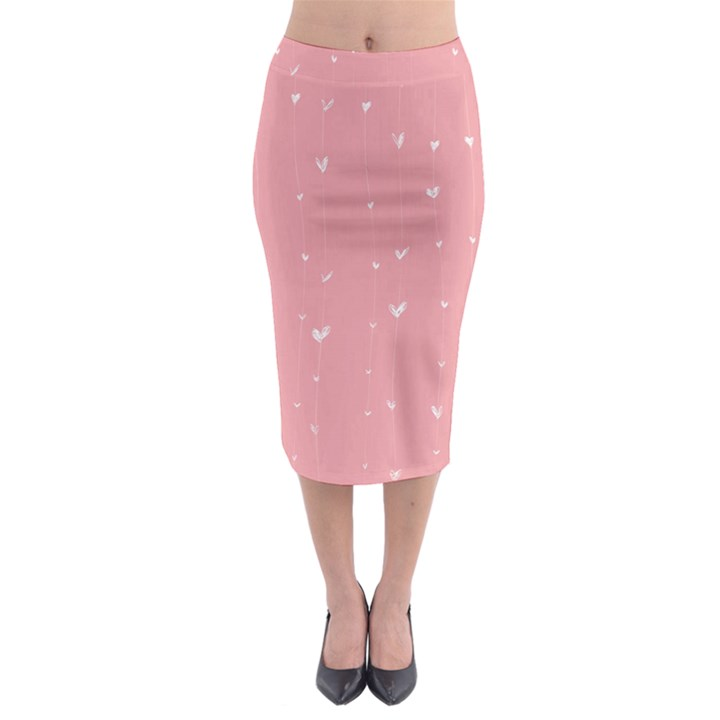 Pink background with white hearts on lines Midi Pencil Skirt