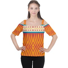 Shapes In Retro Colors       Women s Cutout Shoulder Tee by LalyLauraFLM