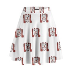Funny Emoji Laughing Out Loud Pattern  High Waist Skirt by dflcprintsclothing