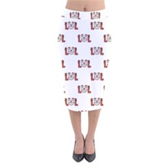 Funny Emoji Laughing Out Loud Pattern  Velvet Midi Pencil Skirt by dflcprintsclothing