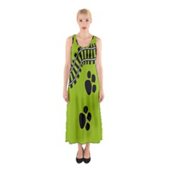 Green Prints Next To Track Sleeveless Maxi Dress