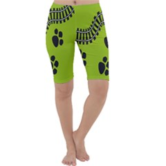 Green Prints Next To Track Cropped Leggings