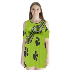 Green Prints Next To Track Shoulder Cutout Velvet  One Piece