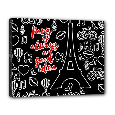 Paris Canvas 14  X 11  by Valentinaart