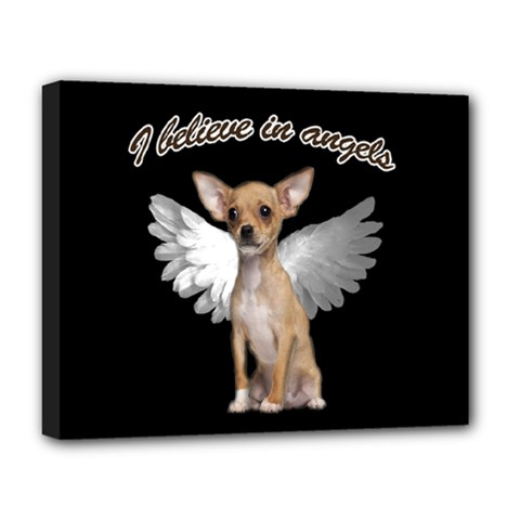 Angel Chihuahua Deluxe Canvas 20  X 16   by Valentinaart