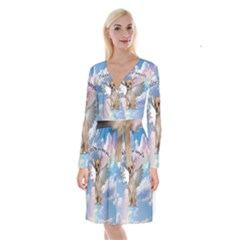 Angel Chihuahua Long Sleeve Velvet Front Wrap Dress by Valentinaart