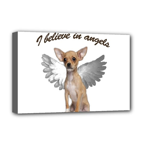 Angel Chihuahua Deluxe Canvas 18  X 12   by Valentinaart