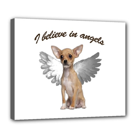Angel Chihuahua Deluxe Canvas 24  X 20   by Valentinaart