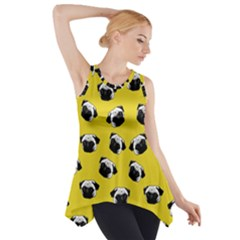 Pug Dog Pattern Side Drop Tank Tunic by Valentinaart