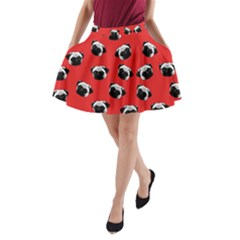 Pug Dog Pattern A Line Pocket Skirt by Valentinaart