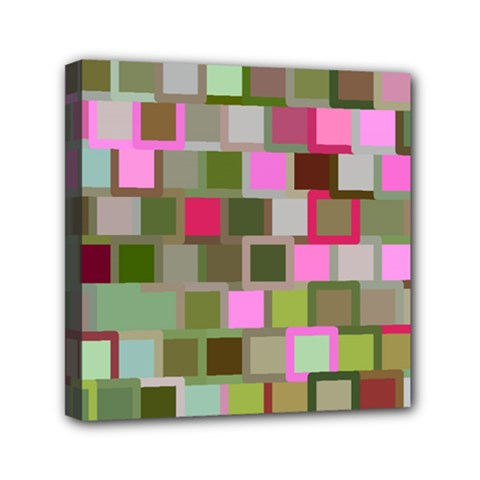 Color Square Tiles Random Effect Mini Canvas 6  X 6