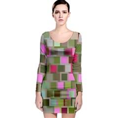 Color Square Tiles Random Effect Long Sleeve Bodycon Dress