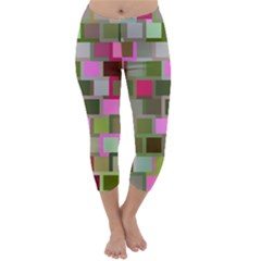 Color Square Tiles Random Effect Capri Winter Leggings