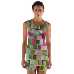 Color Square Tiles Random Effect Wrap Front Bodycon Dress