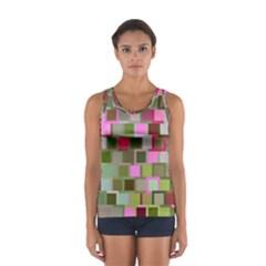 Color Square Tiles Random Effect Women s Sport Tank Top