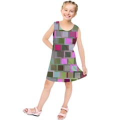 Color Square Tiles Random Effect Kids  Tunic Dress