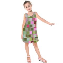Color Square Tiles Random Effect Kids  Sleeveless Dress