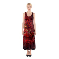 Red Particles Background Sleeveless Maxi Dress