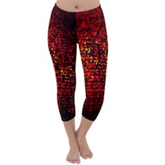 Red Particles Background Capri Winter Leggings