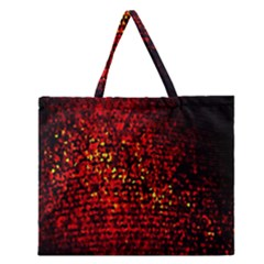 Red Particles Background Zipper Large Tote Bag by Nexatart