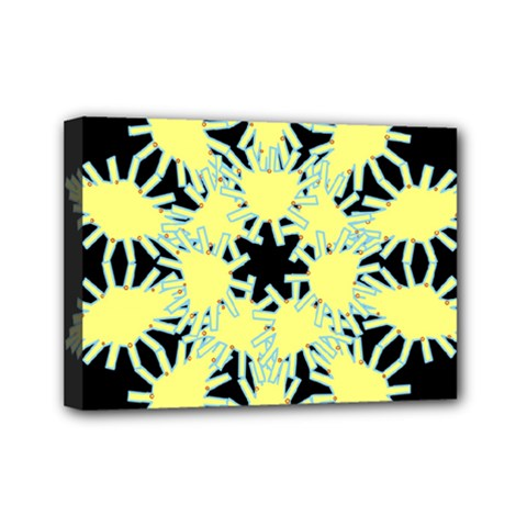 Yellow Snowflake Icon Graphic On Black Background Mini Canvas 7  X 5  by Nexatart