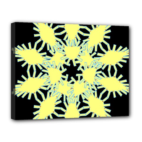 Yellow Snowflake Icon Graphic On Black Background Canvas 14  X 11  by Nexatart