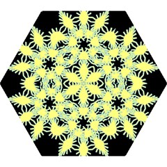 Yellow Snowflake Icon Graphic On Black Background Mini Folding Umbrellas by Nexatart