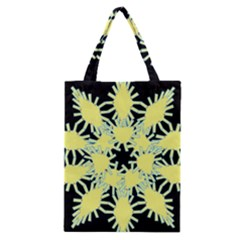 Yellow Snowflake Icon Graphic On Black Background Classic Tote Bag