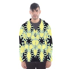 Yellow Snowflake Icon Graphic On Black Background Hooded Wind Breaker (men)