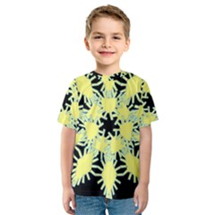 Yellow Snowflake Icon Graphic On Black Background Kids  Sport Mesh Tee