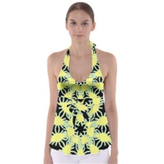 Yellow Snowflake Icon Graphic On Black Background Babydoll Tankini Top