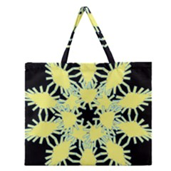 Yellow Snowflake Icon Graphic On Black Background Zipper Large Tote Bag by Nexatart