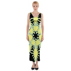Yellow Snowflake Icon Graphic On Black Background Fitted Maxi Dress