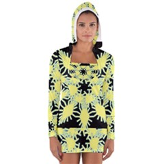 Yellow Snowflake Icon Graphic On Black Background Women s Long Sleeve Hooded T Shirt