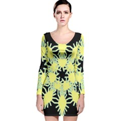 Yellow Snowflake Icon Graphic On Black Background Long Sleeve Velvet Bodycon Dress