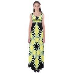 Yellow Snowflake Icon Graphic On Black Background Empire Waist Maxi Dress