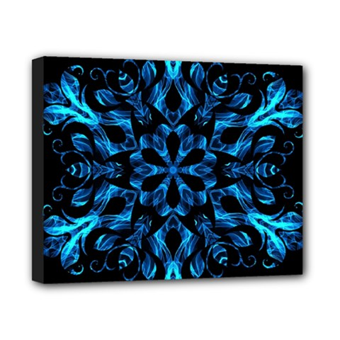 Blue Snowflake On Black Background Canvas 10  X 8  by Nexatart